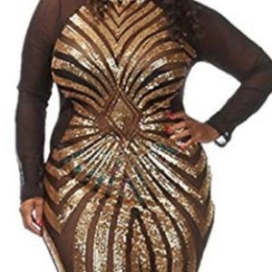 Black and gold sequence dress
